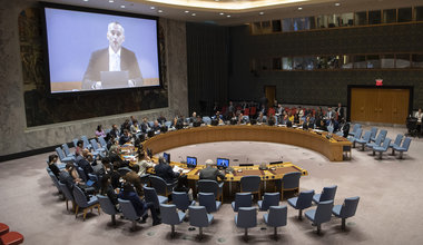 A wide view of the Security Council as Nickolay Mladenov (on screens), Special Coordinator for the Middle East Peace Process, briefs the Council on the situation in the Middle East, including the Palestinian question. (27 August 2019 - UN Photo/Eskinder Debebe)