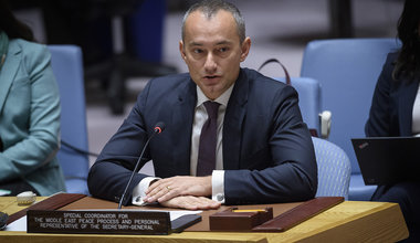 Nickolay Mladenov, Special Coordinator for the Middle East Peace Process, briefs the Security Council on the situation in the Middle East, including the Palestinian question.(20 November 2019 - UN Photo/Loey Felipe)