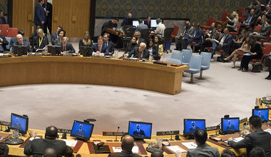 Nickolay Mladenov, UN Special Coordinator for the Middle East Peace Process and Personal Representative of the Secretary-General to the Palestine Liberation Organization and the Palestinian Authority, addresses the Security Council meeting on the situation in the Middle East, including the Palestinian question.
