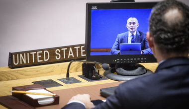 Nickolay Mladenov (on screen), UN Special Coordinator for the Middle East Peace Process, briefs the Security Council on the situation in the Middle East, including the Palestinian question. UN Photo/Loey Felipe - 20 February 2019