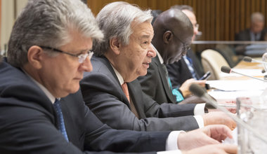 Secretary-General António Guterres (second left) addresses the 2018 opening session of the General Assembly's Committee on the Exercise of the Inalienable Rights of the Palestinian People. UN Photo/Eskinder Debebe