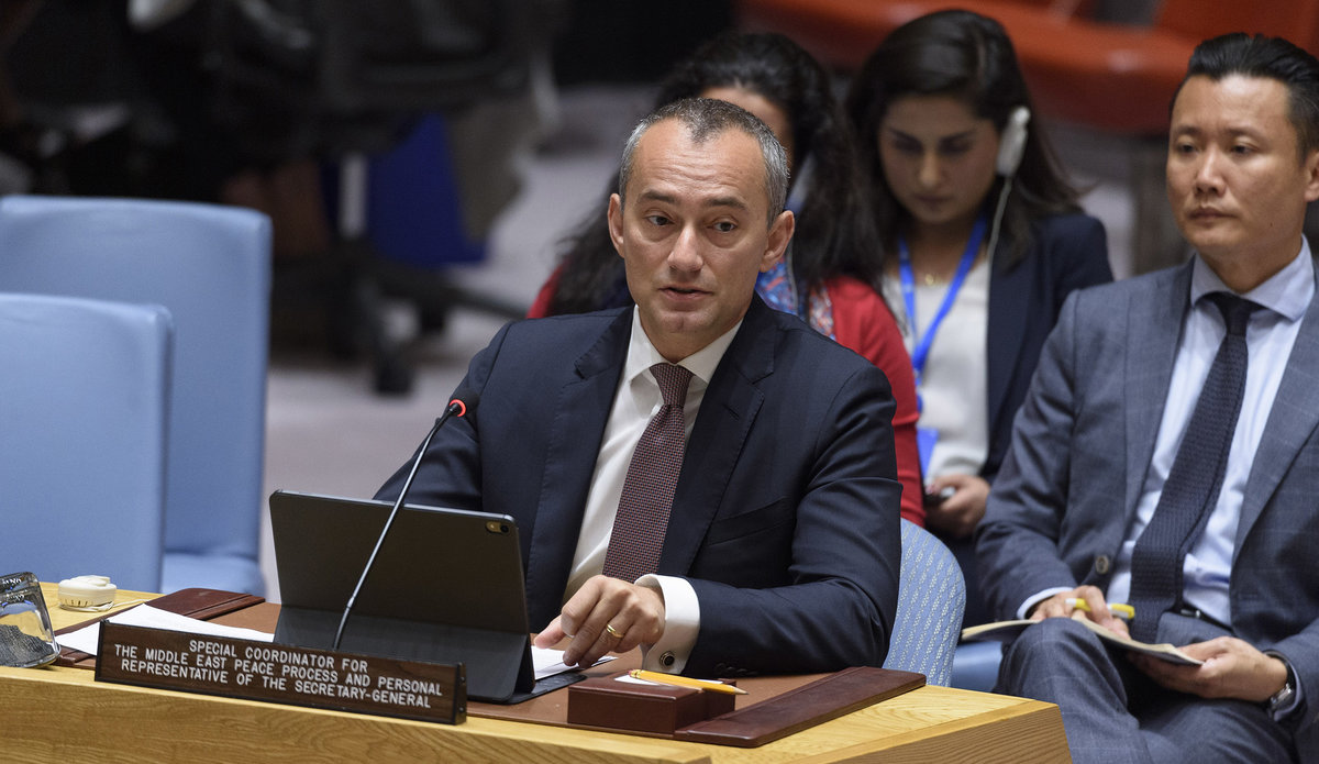 Nickolay Mladenov, UN Special Coordinator for the Middle East Peace Process and Personal Representative of the Secretary-General to the PLO and the PA, briefs the Security Council on the implementation of SCR 2334 (2016) - 20 June 2019 (UN Photo by Loey Felipe)
