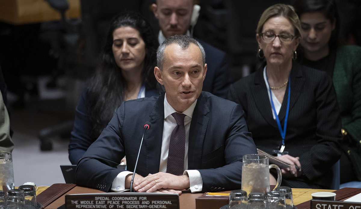 Nickolay Mladenov, Special Coordinator for the Middle East Peace Process and Personal Representative of the Secretary-General to the Palestine Liberation Organization and the Palestinian Authority, briefs the Security Council meeting on the situation in the Middle East, including the Palestinian question. 11 February 2020 United Nations, New York - UN Photo/Eskinder Debebe