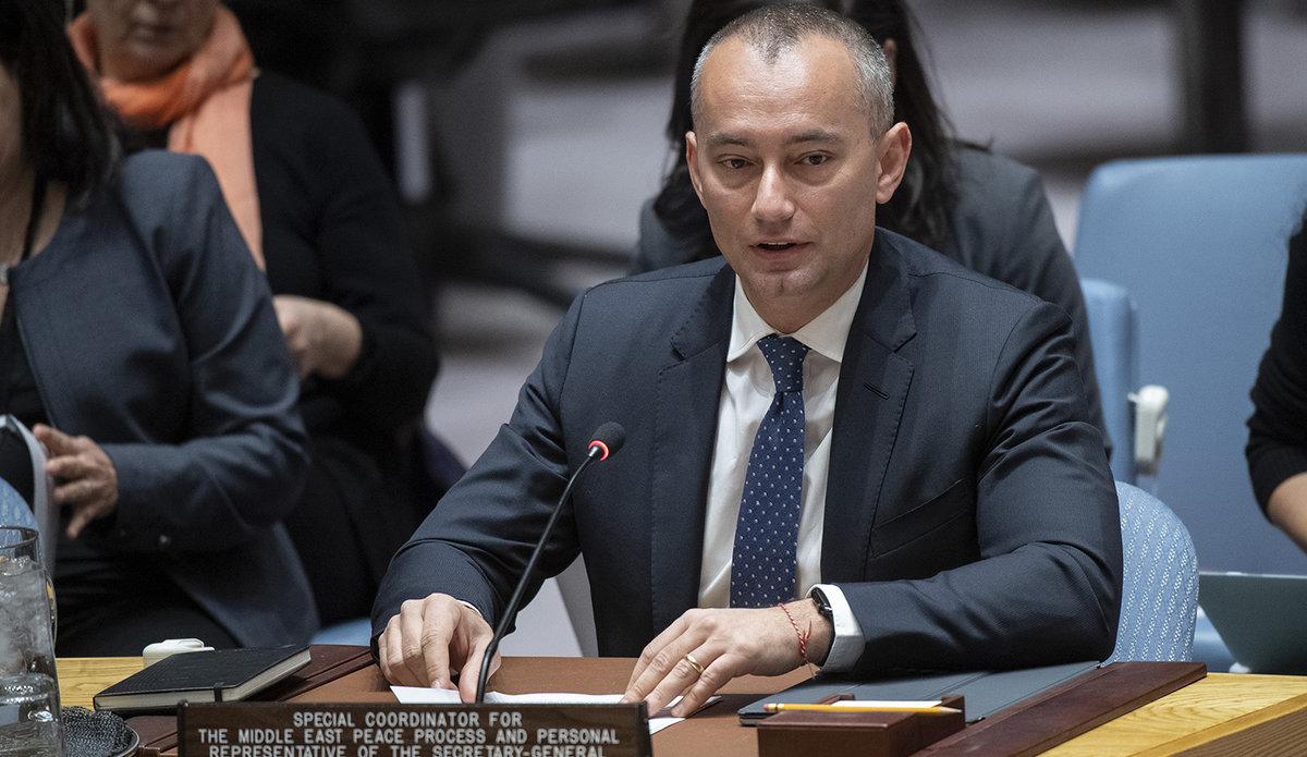 Nickolay Mladenov, UN Special Coordinator for the Middle East Peace Process, briefs the Security Council on the situation in the Middle East, reporting on UNSCR 2334. (UN Photo/Eskinder Debebe -26 March 2019)