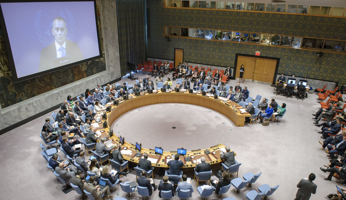 A wide view of the Security Council meeting on the situation in the Middle East, including the Palestinian question. Nickolay Mladenov (shown on screen), UN Special Coordinator for the Middle East Peace Process and Personal Representative of the Secretary-General to the Palestine Liberation Organization and the Palestinian Authority, briefed the Council via video conference.