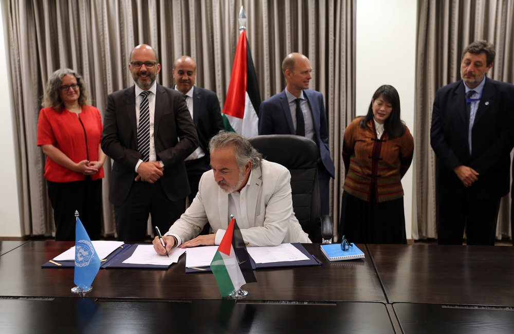 ILO Representative, Mr. Mounir Kleibo, signs the 2018-2022 UNDAF in Ramallah