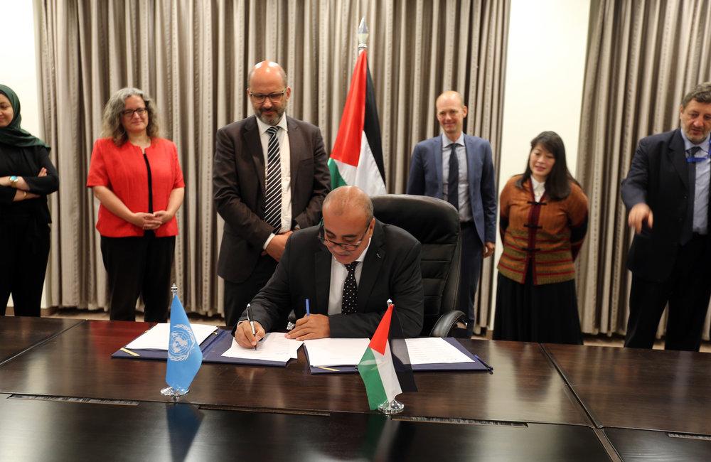UN-Habitat Head of Office, Mr. Zeyad El-Shakra, signs the 2018-2022 UNDAF in Ramallah