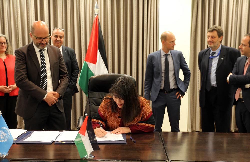 UNICEF Special Representative, Ms. June Kunugi, signs the 2018-2022 UNDAF in Ramallah