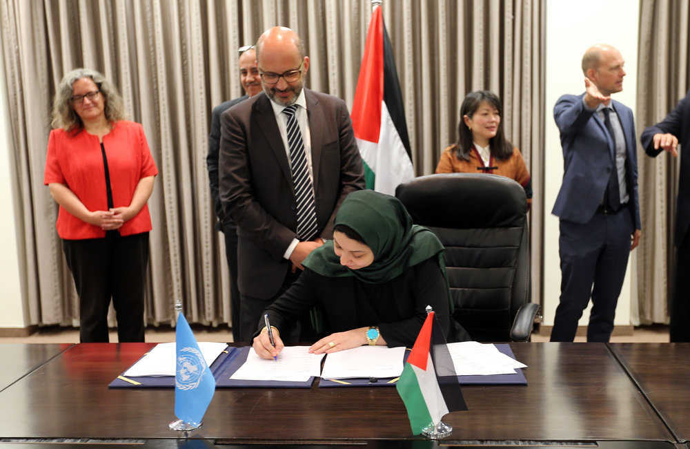UNOPS OiC, Ms. Fatima Abbasi, signs the 2018-2022 UNDAF in Ramallah