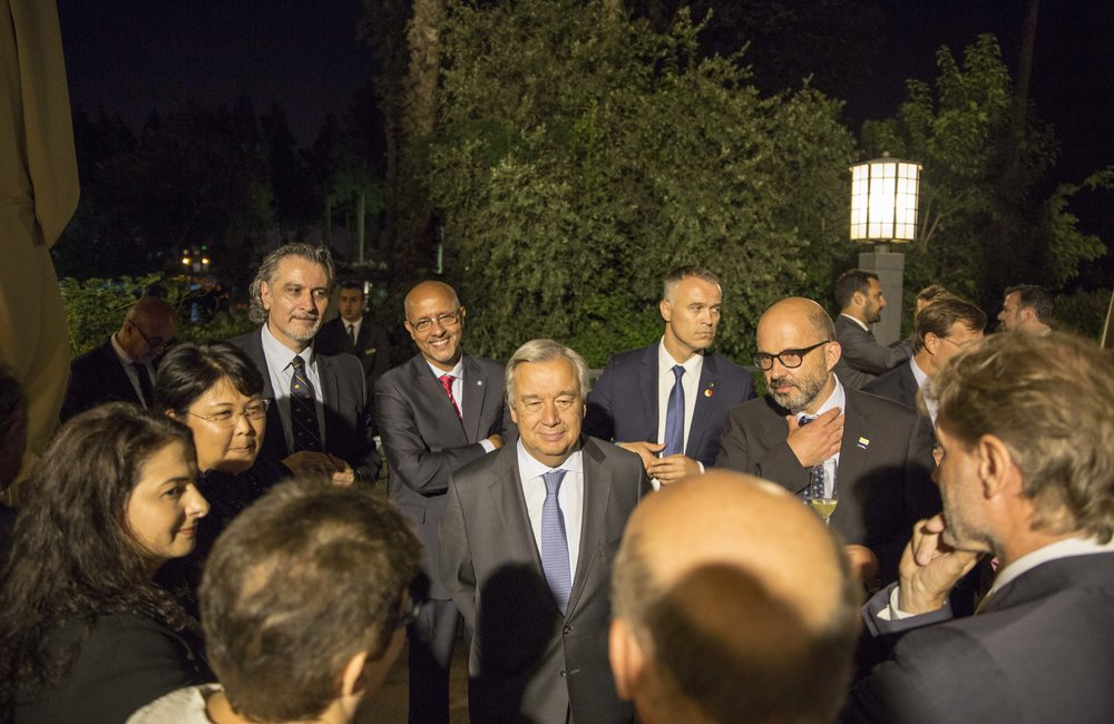 UN Secretary-General Antonio Guterres with members of the UNCT in Palestine (UN Photo/Ahed Izhiman - 29 August 2017)