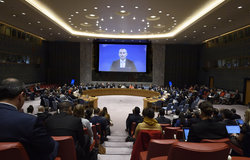 UN Special Coordinator for the Middle East Peace Process, Nickolay Mladenov briefs the Security Council on the situation in the Middle East (28 October 2019 - UN Photo/Loey Felipe)