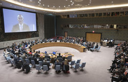 A wide view of the Security Council meeting as Nickolay Mladenov (on screen), UN Special Coordinator for the Middle East Peace Process, briefs the Council on the situation in the Middle East, including the Palestinian question. (18 October 2018 - UN Photo/Rick Bajornas)