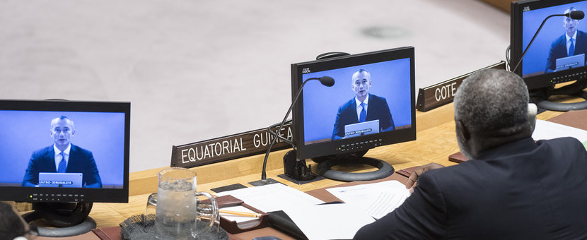 Nickolay Mladenov (on screens), UN Special Coordinator for the Middle East Peace Process, briefs the Security Council on the situation in the Middle East, including the Palestinian question. UN Photo/Rick Bajornas - 19 November 2018