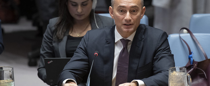 UN Special Coordinator for the Middle East Peace Process, Nickolay Mladenov, briefs the Security Council on the Implementation of UNSCR 2334 (2016) - UN Photo/Eskinder Debebe - 18 December 2019