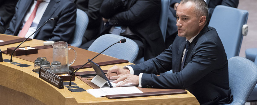 Nickolay Mladenov, UN Special Coordinator for the Middle East Peace Process, briefs the Security Council on the situation in the Middle East, reporting on UNSCR 2334 (UN Photo/Kim Haughton - 20 September 2018)