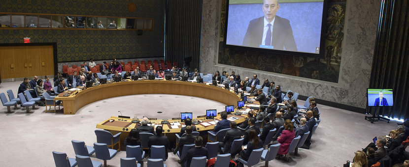 Nickolay Mladenov (on screen), UN Special Coordinator for the Middle East Peace Process, briefs the Security Council on the situation in the Middle East, including the Palestinian question. UN Photo/Loey Felipe - 22 January 2019