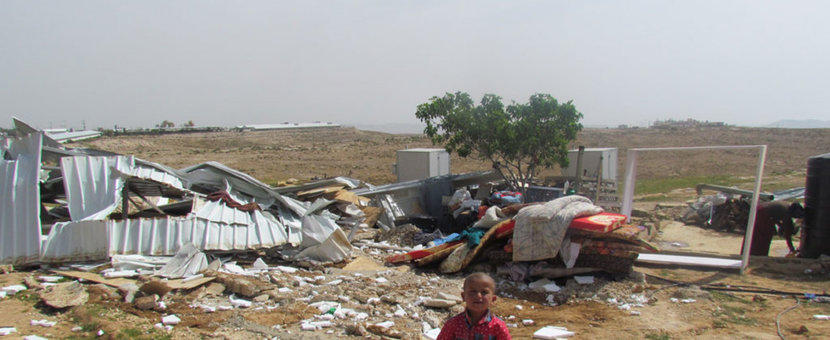 A boy in the Bedouin refugee community of Um al Khayr in the South Hebron Hills where large scale home demolitions by Israeli authorities took place. (UNRWA Photo)