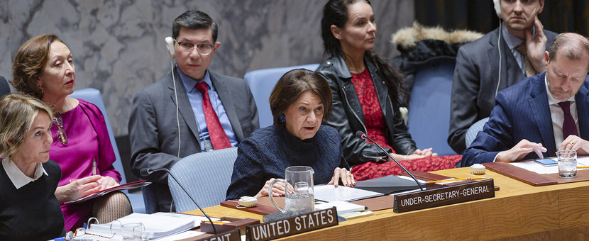 Rosemary DiCarlo, Under-Secretary-General for Political Affairs, briefs the Security Council on the implementation of Resolution 2231 (2015) and the preservation of the Joint Comprehensive Plan of Action (JPCOA). UN Photo/Rick Bajornas - 19 December 2019