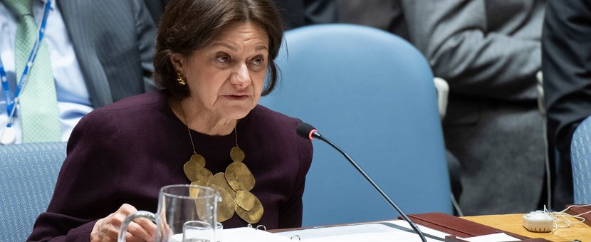 Rosemary DiCarlo, Under-Secretary-General for Political and Peacebuilding Affairs, briefs the Security Council on the situation in the Middle East. UN Photo/Eskinder Debebe